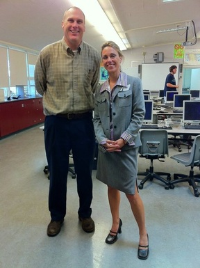 Charles Velschow and Jenny Donegan at Woodside High School